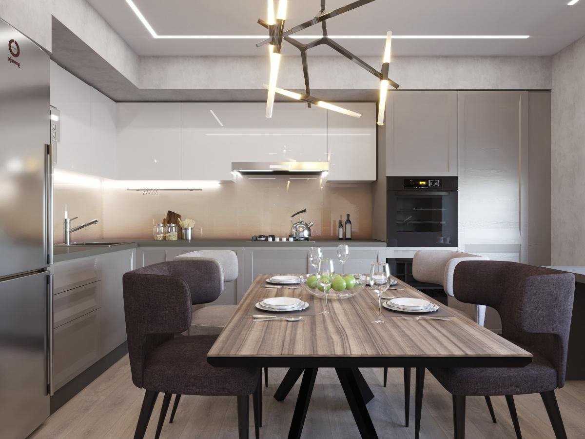 Кухня и гостиная в ЖК на Свободе