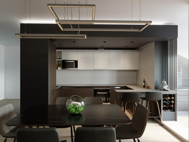 Кухня гостиная — проект квартиры в Москве